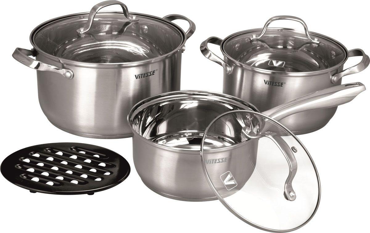 Набор посуды Vitesse Valentina, 7 предметов жаровня чугунная vitesse с прихватками 4 л