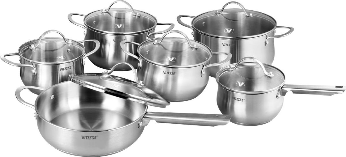 Набор посуды Vitesse Melanie, 12 предметовVS-2063Набор посуды Vitesse Melanie состоит из четырех кастрюль, ковша и сотейника с крышками.Изделия выполнены из нержавеющей стали. Зеркальная полировка придает изделиям стильный внешний вид. Многослойное термоаккумулирующее дно обеспечивает равномерное распределение тепла. Посуда позволяет готовить пищу без воды и жарить без жира и масла, что обеспечивает оптимальный витаминный состав и калорийную ценность в приготовленном блюде.Ручки из нержавеющей стали надежно крепятся к корпусу заклепками. Крышки из термостойкого стекла с паровыпуском позволяют следить за процессом приготовления. Можно мыть в посудомоечной машине. Диаметр кастрюли: 24 смОбъем: 5,9 л Диаметр кастрюли: 20 см Объем: 3,4лДиаметр кастрюли: 18 см Объем: 2,4 л Диаметр кастрюли: 16 см Объем: 1,5 л Диаметр ковша: 16 см Объем: 1,5 л Диаметр сотейника: 24 смОбъем: 2,9 л.