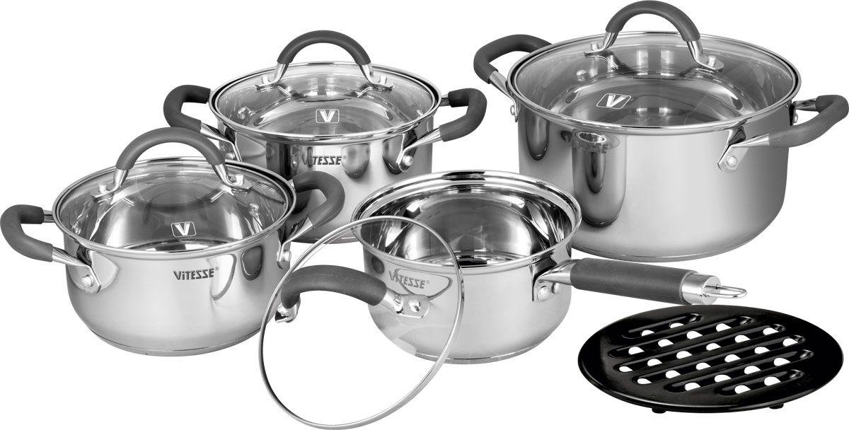 Набор посуды Vitesse Ines, 9 предметовVS-2065Набор посуды Vitesse Ines состоит из трех кастрюль с крышками, ковша и бакелитовой подставки под горячее.Изделия выполнены из нержавеющей стали. Зеркальная полировка придает изделиям стильный внешний вид. Многослойное термоаккумулирующее дно обеспечивает равномерное распределение тепла. Посуда позволяет готовить пищу без воды и жарить без жира и масла, что обеспечивает оптимальный витаминный состав и калорийную ценность в приготовленном блюде.Ручки из нержавеющей стали надежно крепятся к корпусу заклепками. На внутренних стенках имеются отметки литража. Крышки из термостойкого стекла с паровыпуском позволяют следить за процессом приготовления. Можно мыть в посудомоечной машине. Диаметр большой кастрюли: 24 см Объем: 5,9 л Диаметр средней кастрюли: 20 см Объем: 3,4 л Диаметр малой кастрюли: 18 см Объем: 2,4 л Диаметр ковша: 16 см Объем: 1,8 л.