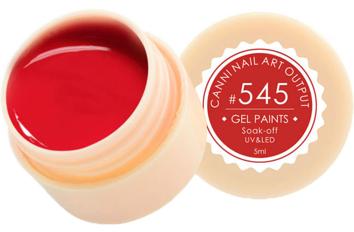 Canni Гель-краска для ногтей Gel Paints, тон № 545, 5 мл11576Гель-лак Canni – это покрытие для ногтей нового поколения, которое поставит крест на всех известных Вам ранее проблемах и трудностях использования Гель-лаков. Это самые качественные и самые доступные шеллаки на сегодняшний день. Canni Гель-лак может легко сравниться по качеству с продукцией CND, а в цене и вовсе выигрывает у американского бренда. Предельно простое нанесение, способность к самовыравниванию, отличная пигментация, безопасное снятие, безвредность для здоровья ногтей и огромная палитра оттенков – это далеко не все достоинства Гель-лаков Канни. Каждая женщина найдет для себя в них что-то свое, отчего уже никогда не сможет отказаться.