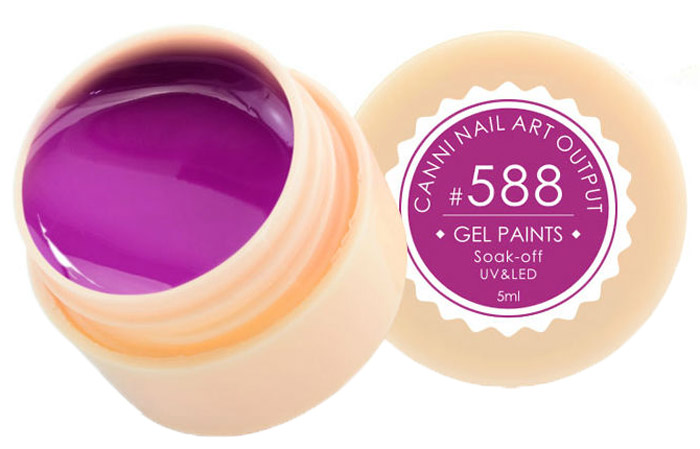 Canni Гель-лак для ногтей Gel Paints, тон № 588, 5 мл13876Гель-лак Canni – это покрытие для ногтей нового поколения, которое поставит крест на всех известных Вам ранее проблемах и трудностях использования Гель-лаков. Это самые качественные и самые доступные шеллаки на сегодняшний день. Canni Гель-лак может легко сравниться по качеству с продукцией CND, а в цене и вовсе выигрывает у американского бренда. Предельно простое нанесение, способность к самовыравниванию, отличная пигментация, безопасное снятие, безвредность для здоровья ногтей и огромная палитра оттенков – это далеко не все достоинства Гель-лаков Канни.Каждая женщина найдет для себя в них что-то свое, отчего уже никогда не сможет отказаться.Как ухаживать за ногтями: советы эксперта. Статья OZON Гид