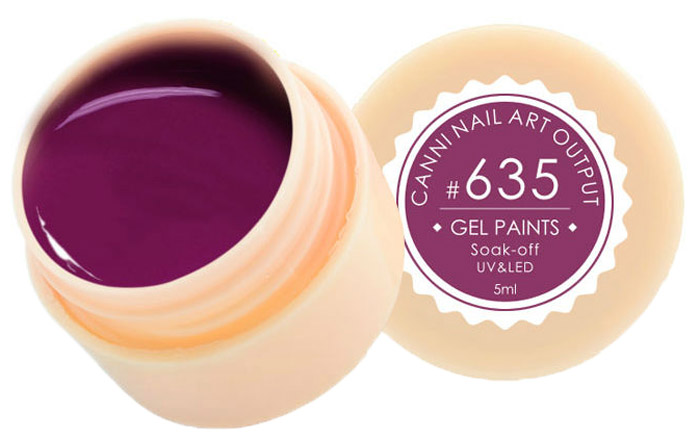 Canni Гель-краска для ногтей Gel Paints, тон № 635, 5 мл11603Гель-лак Canni – это покрытие для ногтей нового поколения, которое поставит крест на всех известных Вам ранее проблемах и трудностях использования Гель-лаков. Это самые качественные и самые доступные шеллаки на сегодняшний день. Canni Гель-лак может легко сравниться по качеству с продукцией CND, а в цене и вовсе выигрывает у американского бренда. Предельно простое нанесение, способность к самовыравниванию, отличная пигментация, безопасное снятие, безвредность для здоровья ногтей и огромная палитра оттенков – это далеко не все достоинства Гель-лаков Канни. Каждая женщина найдет для себя в них что-то свое, отчего уже никогда не сможет отказаться.