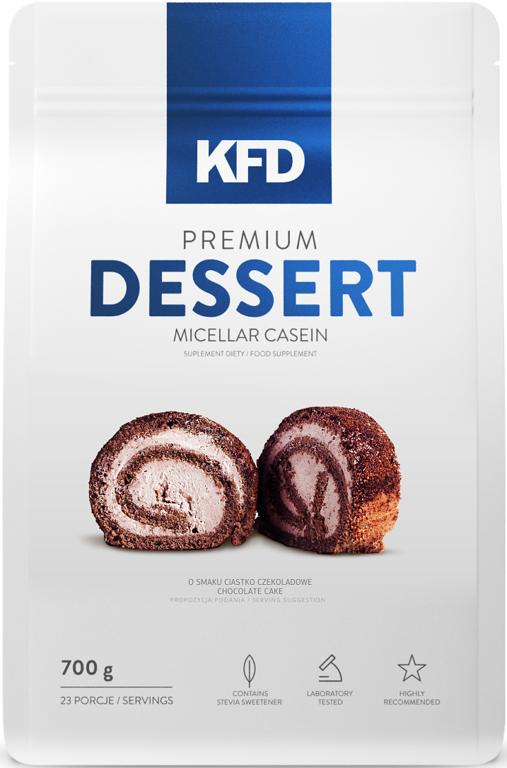 Казеин KFD Dessert, шоколадный торт, 700 г5901947664643KFD Premium Dessert это высококачественный, 100% чистый мицеллярный казеин. Отличный вкус этого продукта, сливочная консистенция и небольшое количество жира и сахара идеально подходит для создания очень сытного десерта или пищи с высоким содержанием белка. Как и во всех продуктах KFD в нём нет красителей, консервантов или низкокачественных примесей растительных белков.СПОСОБ УПОТРЕБЛЕНИЯ: Одну порцию – 30 г (1 мерная ложка «с горкой») нужно всыпать в ёмкость с 150 мл молока или воды и, при помощи миксера или блендера, размешивать около 2 минут до получения однородной пудинговой консистенции. Можно подавать с фруктами или сухофруктами в форме десерта. Употреблять соответственно индивидуальным потребностям, не чаще 3 раз в день, сразу после приготовления.Состав: ПИЩЕВАЯ ЦЕННОСТЬ 100 г 30 г (одна порция)Энергетическая ценность 350 ккал (1465 кДж) 105 ккал (439 кДж)Белки 80 г 24 гЖиры 1,5 г 0,45 г в том числе насыщенные жирные кислоты 0,1 г 0,03 гУглеводы 4 г 1,2 г в том числе сахар 0,5 г 0,15 гПищевые волокна 0,4 г 0,12 гСода 0,6 г 0,18 гТовар не является лекарственным средством.Товар не рекомендован для лиц младше 18 лет.Могут быть противопоказания и следует предварительно проконсультироваться со специалистом.Уважаемые клиенты! Обращаем ваше внимание на то, что упаковка может иметь несколько видов дизайна. Поставка осуществляется в зависимости от наличия на складе.Как повысить эффективность тренировок с помощью спортивного питания? Статья OZON Гид