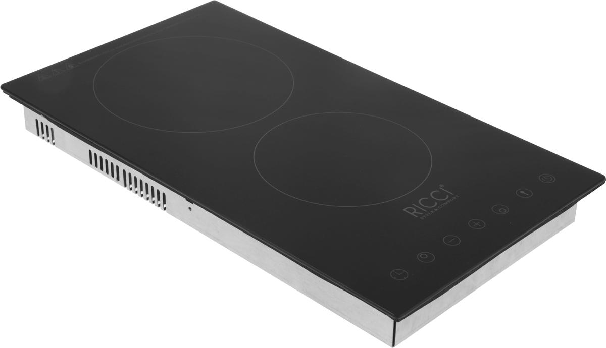 Ricci RS-3001, Black варочная инфракрасная панель72 RS-3001Ricci RS-3001 - инфракрасная варочная панель, которая занимает главное место на любой кухне. Надежная стеклокерамическая поверхность черного цвета, органично впишется в любой интерьер, а также удивит вас простотой очистки.Панель имеет 2 инфракрасные конфорки разной мощности и диаметра, которые отличаются высокой скоростью нагрева, энергоэффективностью и надежностью. Удобная панель управления сенсорного типа располагается спереди и обеспечивает тонкую настройку мощности нагрева каждой конфорки. При необходимости можно заблокировать всю панель при помощи кнопки защита от детей.Мощность конфорок: 1800 Вт + 1200 ВтДиаметр конфорок: 200 мм, 165 мм