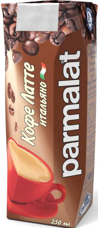 Parmalat Кофе Латте ультрапастеризованный коктейль молочный с кофе 2,3%, 0,25 л коктейль молочный с кофе parmalat пармалат капуччино 1 5