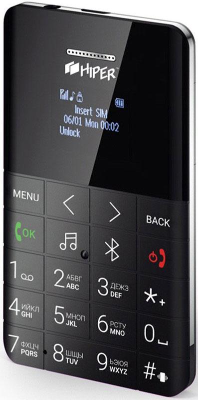 HIPER sPhone One, Black мобильный телефон (MP-01BLK)MP-01BLKHIPER sPhone One - компактный мобильный телефон с различными дополнительными возможностями.Данная модель оснащена цветным LCD OLED 0.96-дюймовым экраном. Имеет аккумулятор 280 мАч. Максимальная продолжительность работы устройства в режиме ожидания - 72 часов. При разговоре батареи хватает на 5 часов.Телефон оснащен FM-радио, поэтому вы можете прослушивать любимые радиостанции там, где вы находитесь.Синхронизация контактов со смартфономФункция Удалённой камерыAnti-Lost
