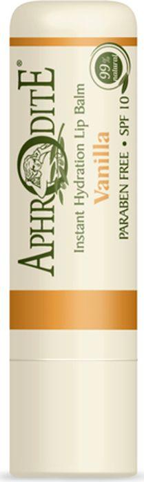 Защитный бальзам для губ с ароматом ванили Aphrodite, 4 грZ-46Сегодня бальзамы используются не только для защиты губ от сухости и устранения дискомфорта. Это - активное питание, комплексное увлажнение, борьба с преждевременными признаками старения кожи и основа под помаду.Бальзам для губ с ванилью сSPF 10 – средство «мгновенного реагирования», разработанное из натуральных компонентов на основе критского оливкового масла. Уникальная рецептура включает в себя гиалуроновую кислоту, пчелиный воск, экстракт календулы, витамин Е, рисовое масло и масло дерева ши, которые активно питают, увлажняют и защищают нежную кожу губ.А сладкий и пьянящий аромат ванили нравится практически всем. Сегодня даже аскеты, которые сдержаны в выборе косметических средств, отдают предпочтение бальзамам для губ. Ингредиенты для натуральной косметики APHRODITE тщательно подбираются. Продукция не содержит парабенов, искусственных красителей и животных жиров, не тестируется на животных.