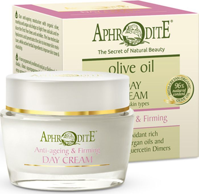 Омолаживающий укрепляющий дневной крем Aphrodite, 50 млZ-19AОмолаживающий супер-крем создан для того, чтобы вернуть молодость, здоровье и красоту Вашей коже. Благодарямощным антиоксидантам, фосфолипидам и жирным кислотам, содержащимся в натуральных маслах, экстрактах и активных ингредиентах, крем помогает уменьшить морщины и улучшить цвет лица. Органическое оливковое масло в сочетании с маслом шиповника, авокадо и арганы способствуют омоложению, созданию оптимального липидного баланса кожи. Гиалуроновая кислота и натуральные экстракты из граната, виноградного сокаисофоры японской активно увлажняют, повышают эластичность и упругость кожи,дарят ей свежий и здоровый вид.Основа всех косметических средствAPHRODITE - натуральные компоненты. Косметика не содержит APHRODITE парабенов, искусcтвенных красителей и животных жиров.