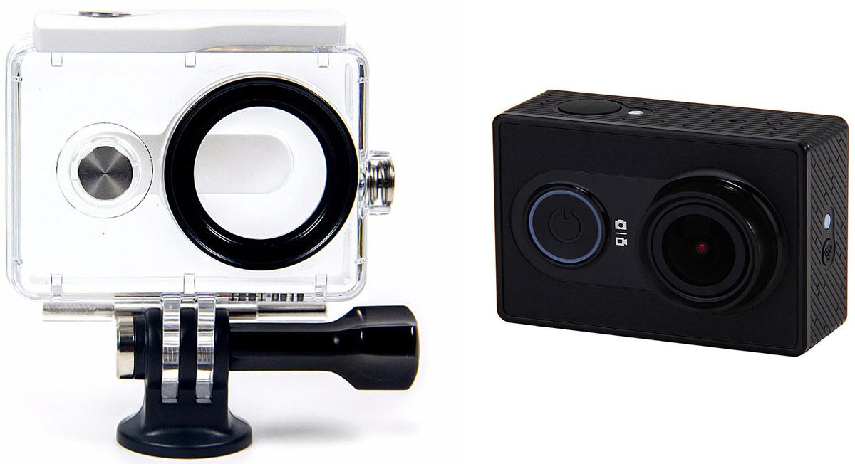 Xiaomi YI Basic, Black экшн-камера + водонепроницаемый бокс88023Миниатюрная экшн-камера Xiaomi YI Basic отличается не только компактностью, но и обладает высокой производительностью профессионального уровня. За обработку фото и видео отвечает процессор Ambarella A7LS, а также качественная матрица от Sony.Широкоугольный объектив с асферическими линзами высокой четкости имеет угол обзора в 155 градусов, который помогает охватить больше пространства. Таким образом, съемка больших сцен под особым углом сможет передать визуальный эффект.Вы больше не должны беспокоиться о том, что не сможете делать натуральные яркие фотографии. Эта камера может быть использована совместно с большим количеством аксессуаров: вы можете разместить камеру на шлем, велосипед, монопод и т.д.Ambarella A7LS - самый высокопроизводительный процессор обработки изображения. Высокоточный способ кодирования изображения поможет корректно разместить снятые кадры, а также позволит отснять больше материала, даже если у вас осталось небольшое количество места на карте памяти. Камера предлагает вам 4 режима съемки - максимальная скорость, высокая скорость, режим движения, обычный режим.Специальный режим подавления шума 3D и техника компенсированной фильтрации движения (MCTF) поможет делать четкие фото и видео кадры при слабом освещении или при встрясках.Датчик Sony Exmor R BSI имеет технику задней подсветки изображения, которая очень чувствительна к объектам, убирает шум, а вы можете получить высококачественные фотографии и видео в пасмурную погоду, ночью либо при слабом освещении в помещении.Вы можете использовать смартфон, как пульт управления для фотографирования или съемки видео. А с помощью специального приложения очень легко делиться отснятым материалом со своими друзьями в любое время.Высокопроизводительный трехосевой G-сенсорЕмкость аккумулятора: 1010 мАч