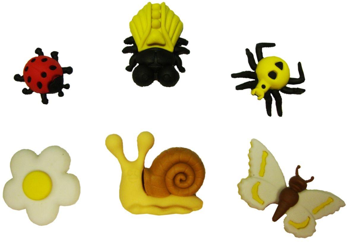 Карамба Набор ластиков Жуки улитка бабочка цветок 6 шт4212Набор ластиков Карамба с плотной структурой изготовлен для эффективного стирания карандашей различной твердости. Ластик обеспечивает высокое качество коррекции и не повреждает поверхность бумаги. Ластики выполнены в виде пяти насекомых и одного цветка.