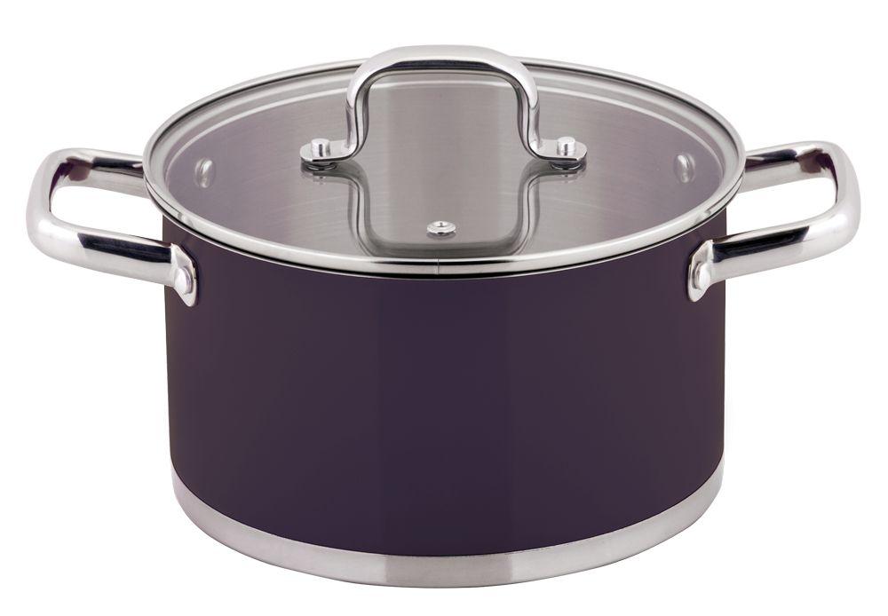 Кастрюля Esprado Uva Norte с крышкой, цвет: фиолетовый, 2,3 лUVNL18AE101Кастрюля Esprado Uva Norte, изготовленная из высококачественной нержавеющей стали с внешним цветным покрытием, имеет трехслойное теплоаккумулирующее дно. Внешнее покрытие не только эстетично, но и функционально: входящие в его состав частицы песка обеспечивают равномерное распределение жара и ускоряют процесс приготовления блюда. Внутри - матовая полировка с отметками литража для точного соблюдения рецепта. Особая конструкция дна способствует высокой теплопроводности и равномерному распределению тепла. Материал удерживает тепло по всей поверхности изделия, благодаря чему пища равномерно и быстро нагревается. Кастрюля оснащена двумя удобными стальными ручками. Крышка, выполненная из термостойкого стекла, позволит вам следить за процессом приготовления пищи. Крышка оснащена металлическим ободом и отверстием для выпуска пара. Кастрюля идеальна для приготовления здоровой пищи с минимальным количеством жира, что обеспечивает снижение потери полезных витаминов, минеральных веществ и сохраняет аромат приготовляемых блюд. Кастрюлю можно использовать на любых видах плит, включая индукционные. Нельзя мыть в посудомоечной машине.Диаметр кастрюли (по верхнему краю): 18 см.Высота стенок кастрюли: 10,5 см.