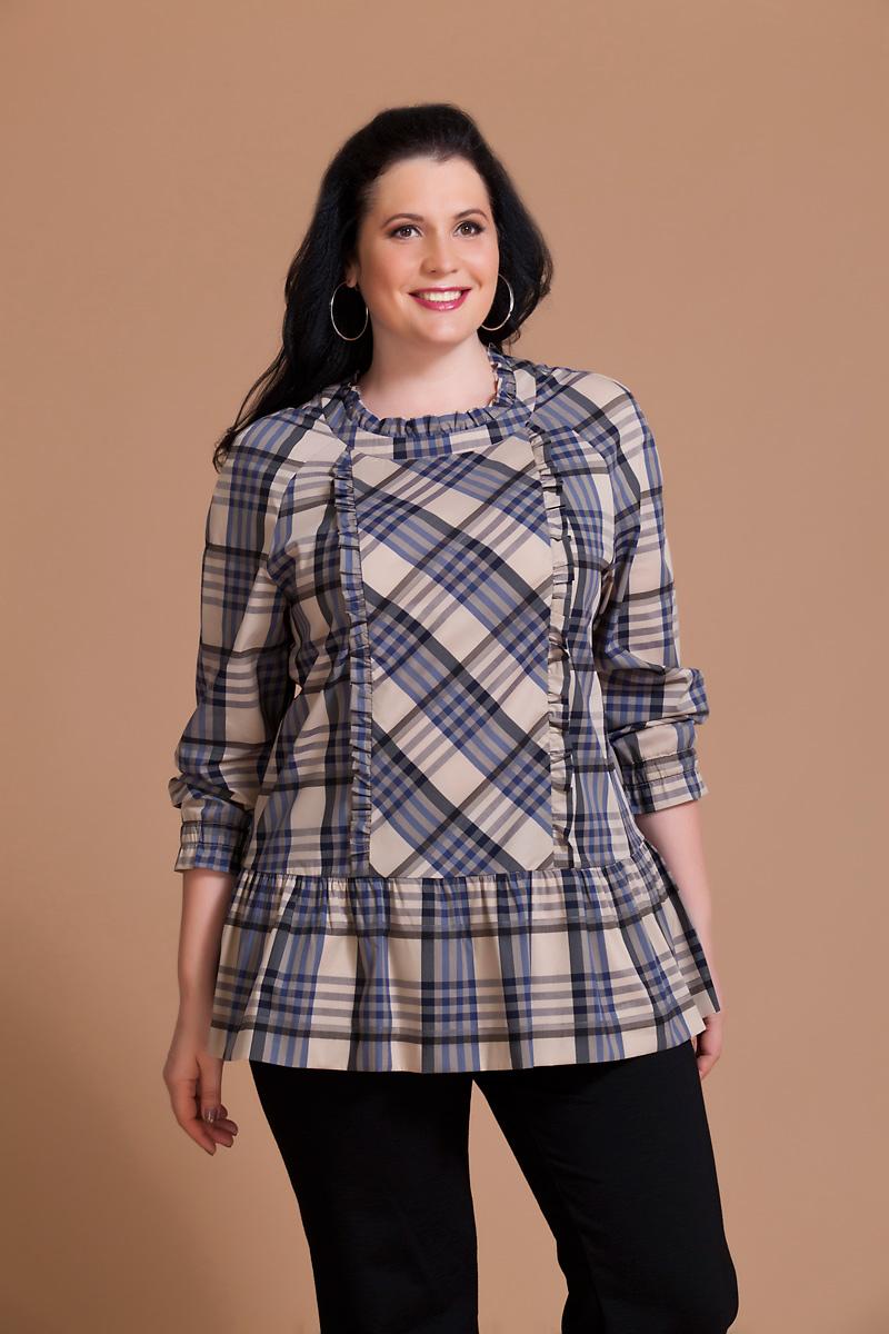 Блузка женская Averi, цвет: бежевый, синий, черный. 1146. Размер 60 (64) блузка женская averi цвет оранжевый 1440 размер 64 66