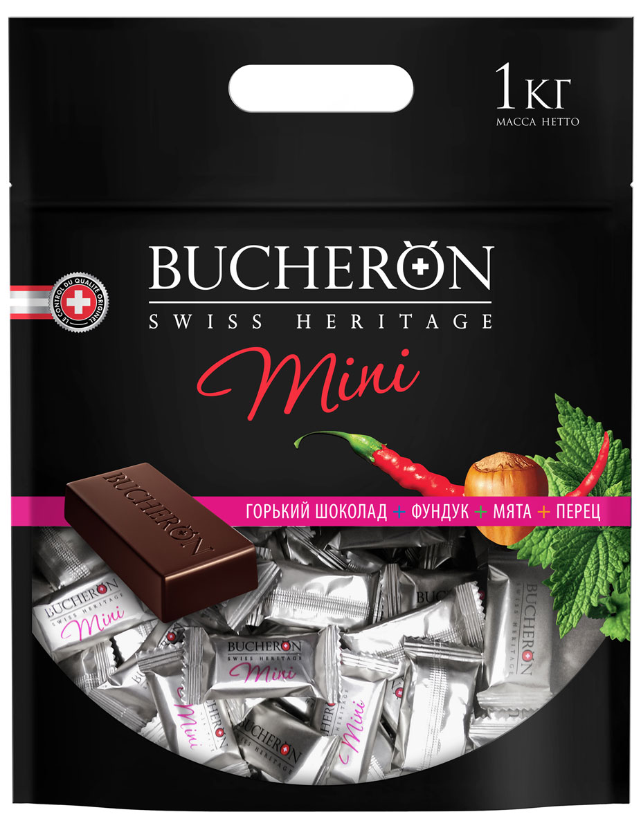 Bucheron Mini горький шоколад с фундуком, мятой и кайенским перцем, 1 кг гейнер шоколад xxi power 1 кг