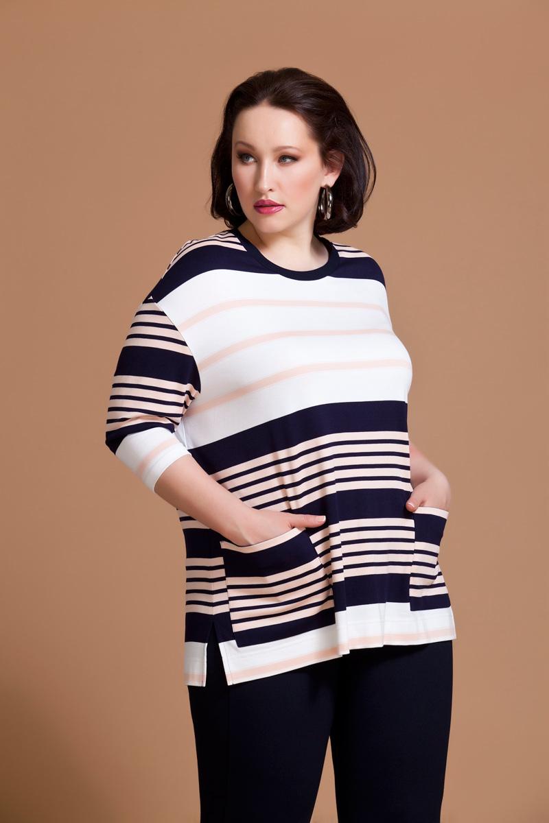Блузка женская Averi, цвет: белый, розовый, синий. 1174. Размер 60 (64) блузка женская averi цвет коралловый 1440 размер 64 66