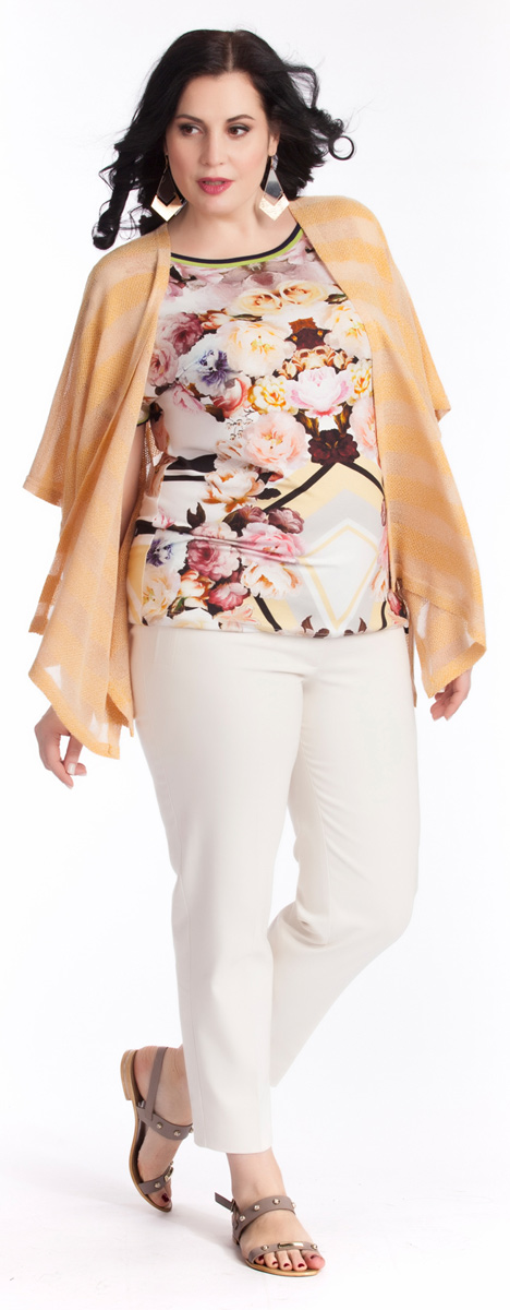 Блузка женская Averi, цвет: белый, розовый, черный. 1238. Размер 64 (68) блузка женская averi цвет черный 1362 001 размер 52 56