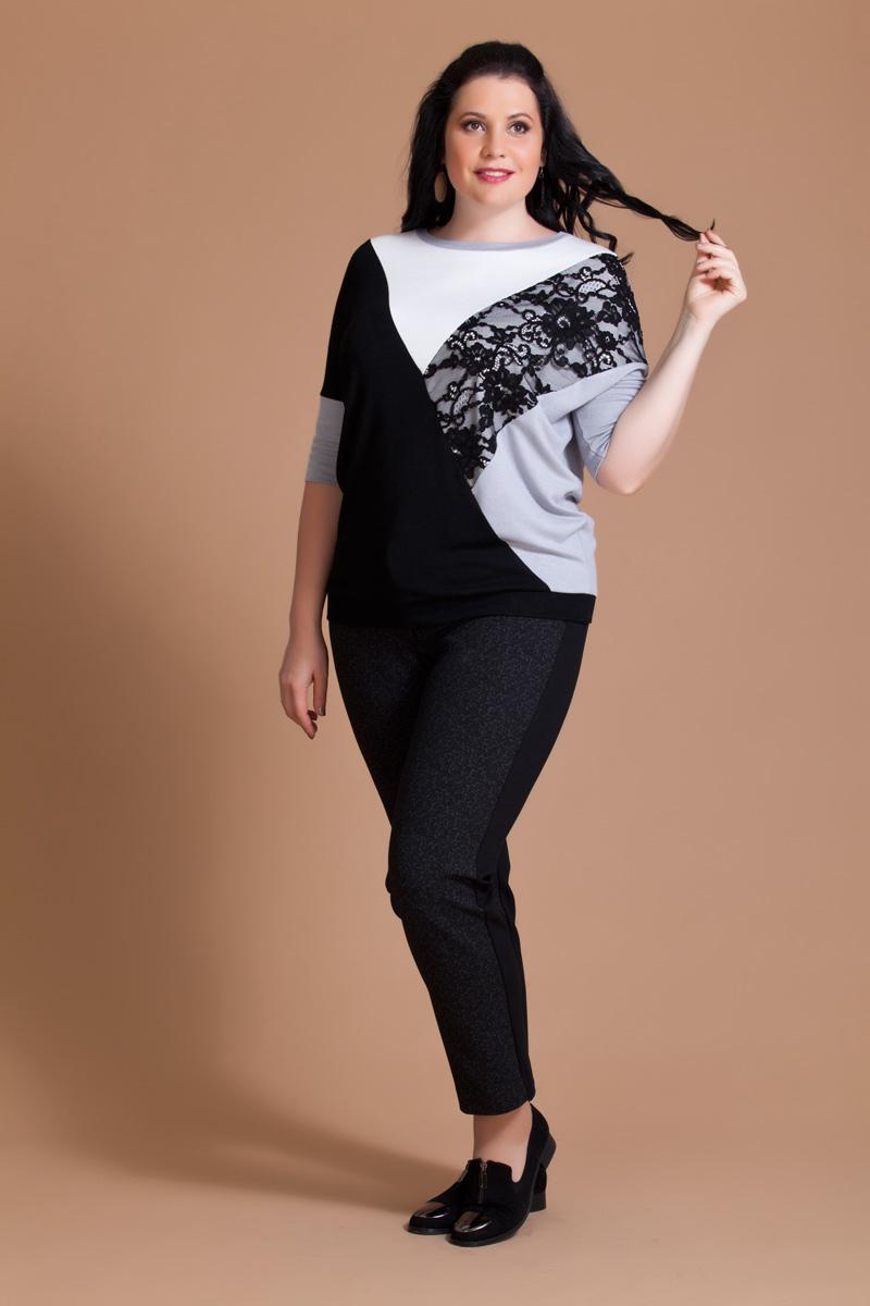 Блузка женская Averi, цвет: белый, серый, черный. 1163. Размер 60 (64) блузка женская averi цвет черный 1362 001 размер 52 56