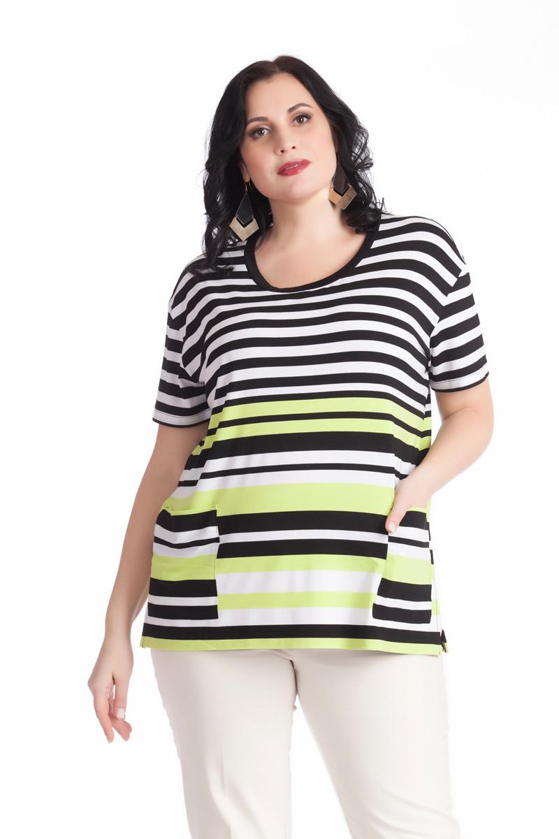 Блузка женская Averi, цвет: белый, черный, светло-зеленый. 1263. Размер 60 (64) блузка женская averi цвет голубой 1440 размер 50 52