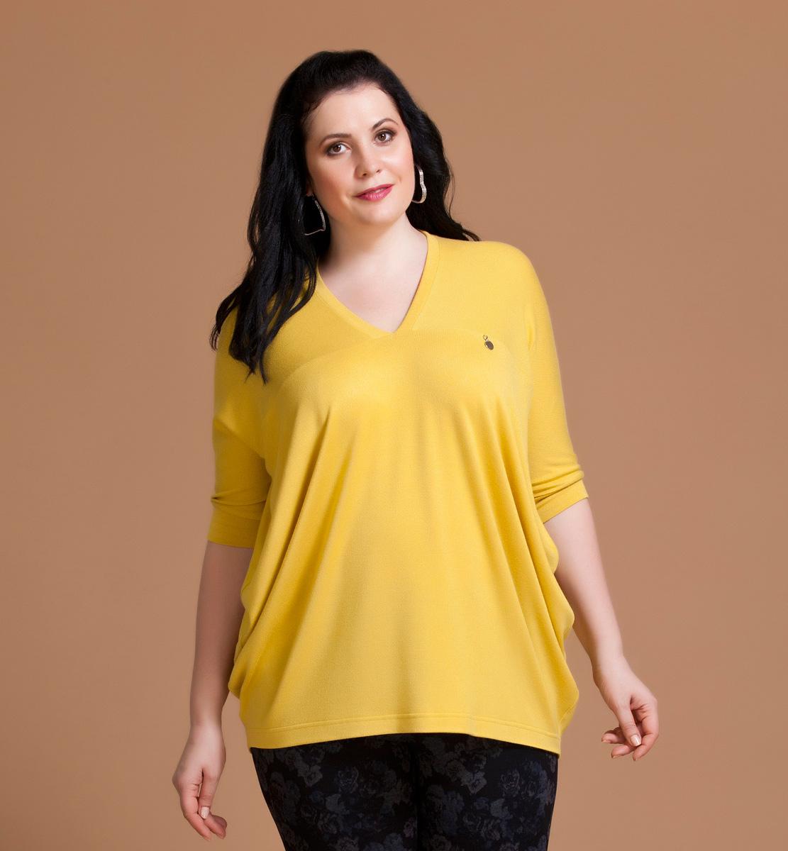Блузка женская Averi, цвет: желтый. 1133. Размер 60 (64) блузка женская averi цвет оранжевый 1440 размер 64 66
