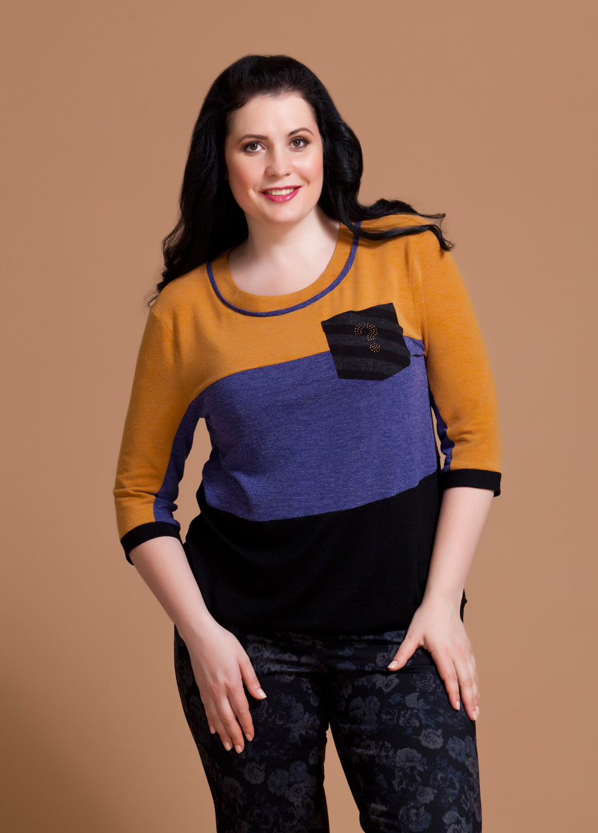 Блузка женская Averi, цвет: оранжевый, синий, черный. 1194. Размер 62 (66) блузка женская averi цвет голубой 1440 размер 50 52