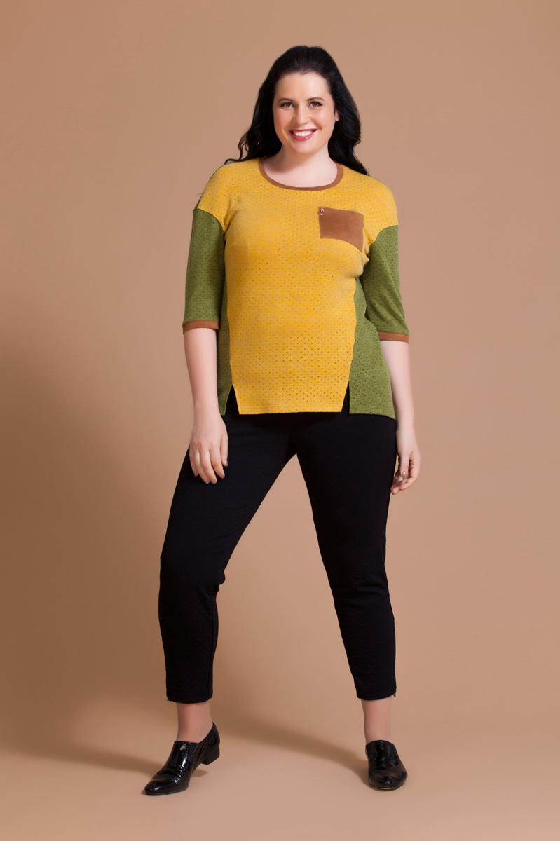 Блузка женская Averi, цвет: оливковый, желтый. 1177. Размер 56 (60)1177Нарядная блузка Averi из ажурного вискозного полотна с люрексом построена на контрастном цветовом сочетании. Модель имеет рукава длины 1/2 и круглый вырез горловины. Заниженная пройма рукава в сочетании с асимметричным низом придает изделию оригинальный вид. В переходящих на перед боковых швах имеются небольшие декоративные разрезы. Манжеты рукавов, планка горловины и нагрудный кармашек выполнены из качественной искусственной замши.