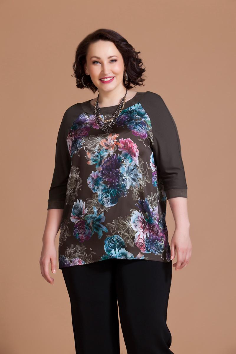 Блузка женская Averi, цвет: коричневый, фиолетовый, бирюзовый. 1164. Размер 62 (66) блузка женская averi цвет коралловый 1440 размер 64 66