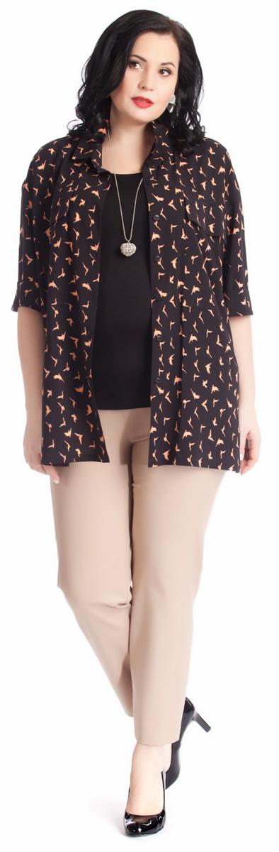 Блузка женская Averi, цвет: черный, бежевый. 1267. Размер 56 (60)1267Стильная женственная блузка Averi выполнена из шелковистой вискозы. Модель имеет прямой силуэт, заниженную линию плеча, рукава длины 1/2 и отложной воротник. Застегивается на пуговицы. На груди расположены большие плоские карманы с клапанами, на спинке - кокетка. Блузка дополнена оригинальным принтом. Отличный вариант формального стиля в летнем варианте. Сочетание с однотонными узкими брюками создаст идеальный образ. Блузка подойдет также и в качестве легкой накидки.