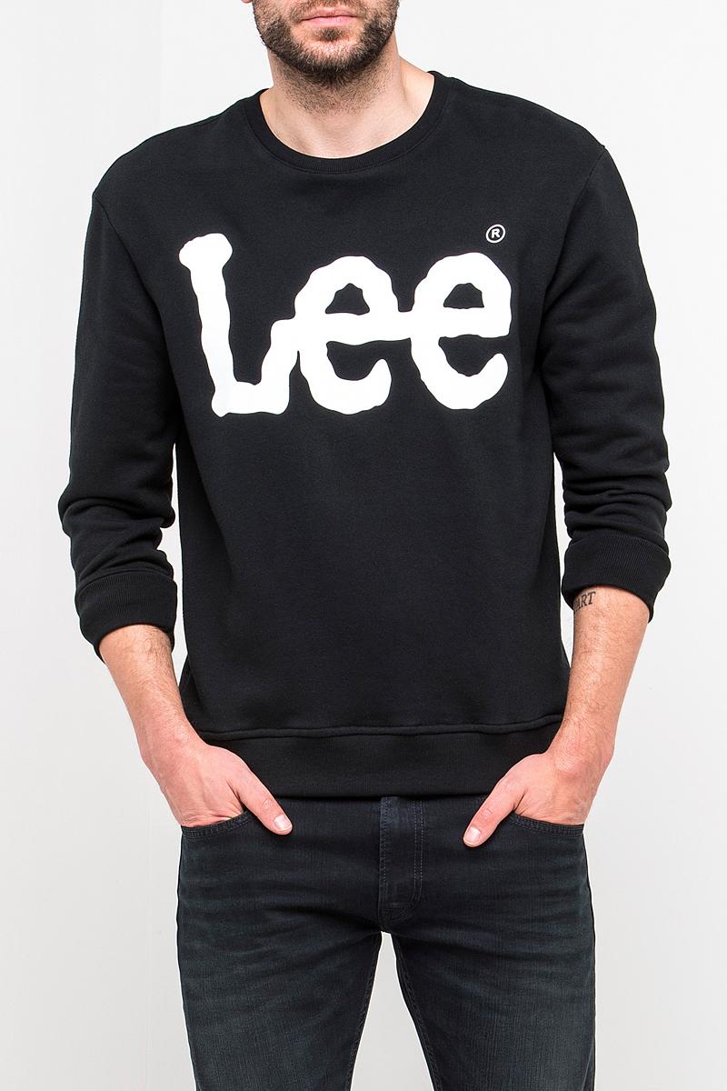 Свитшот мужской Lee, цвет: черный. L82UUB01. Размер XXL (54) пуловер мужской karff цвет синий бордовый черный 88004 01 размер xxl 56
