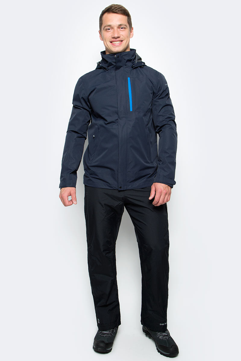 Куртка мужская Icepeak, цвет: темно-синий. 756235577IVT_390. Размер XS (46)756235577IVT_390Мужская куртка с подкладкой Icepeak выполнена из качественного полиэстера. Модель с длинными рукавами застегивается на застежку-молнию и планку с кнопками. Изделие дополнено капюшоном и двумя внешними карманами.