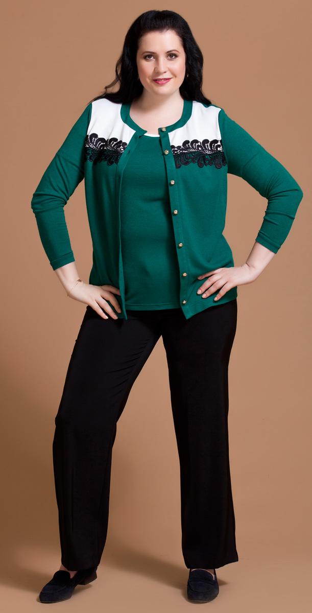 Комплект одежды женский Averi: жакет, блузка, цвет: зеленый. 1195. Размер 58 (62)1195Нарядный трикотажный комплект Averi состоит из легкого комфортного жакета и блузки. Жакет с контрастной белой кокеткой декорирован черным кружевом. Модель имеет длинные рукава, круглый вырез горловины и застежку на пуговицы. Нижняя блузка полуприлегающего силуэта с коротким втачным рукавом позволяет носить комплект в раскрытом виде.