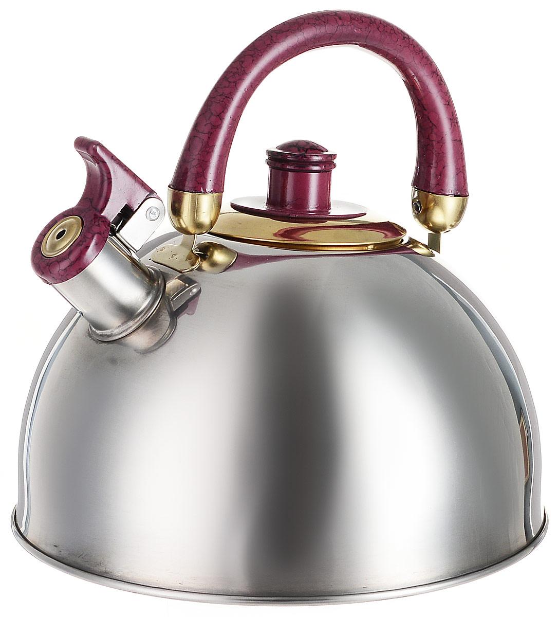 Чайник Mayer & Boch, со свистком, цвет: стальной, бордовый, золотистый, 4,5 л. 2043820438Чайник Mayer & Boch изготовлен из высококачественной нержавеющей стали, что делает его весьма гигиеничным и устойчивым к износу при длительном использовании. Утолщенное дно обеспечивает равномерный и быстрый нагрев, поэтому вода закипает гораздо быстрее, чем в обычных чайниках. Чайник оснащен откидным свистком, звуковой сигнал которого подскажет, когда закипит вода. Подвижная ручка из бакелита дает дополнительное удобство при разлитии напитка. Чайник Mayer & Boch идеально впишется в интерьер любой кухни и станет замечательным подарком к любому случаю. Подходит для газовых, включая индукционные. Можно мыть в посудомоечной машине. Диаметр (по верхнему краю): 9 см. Диаметр основания: 22 см. Высота стенки: 13 см.