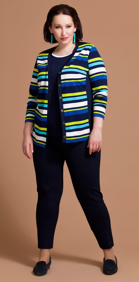 Комплект одежды женский Averi: жакет, топ, цвет: синий, светло-зеленый. 1193. Размер 52 (56)1193Комплект Averi состоит из жакета и топа, выполненных из разнообразных вискозных полотен. Привлекательный жакет полуприлегающего силуэта имеет длинные втачные рукава, V-образный вырез горловины и застежку на пуговицы. Цветные горизонтальные полоски и ненавязчивый люрекс придают модели запоминающийся стиль, а небольшие однотонные вставки по бокам вытягивают и стройнят силуэт. Блузка полуприлегающего кроя с коротким втачным рукавом выполнена из гладкокрашеной вискозы.