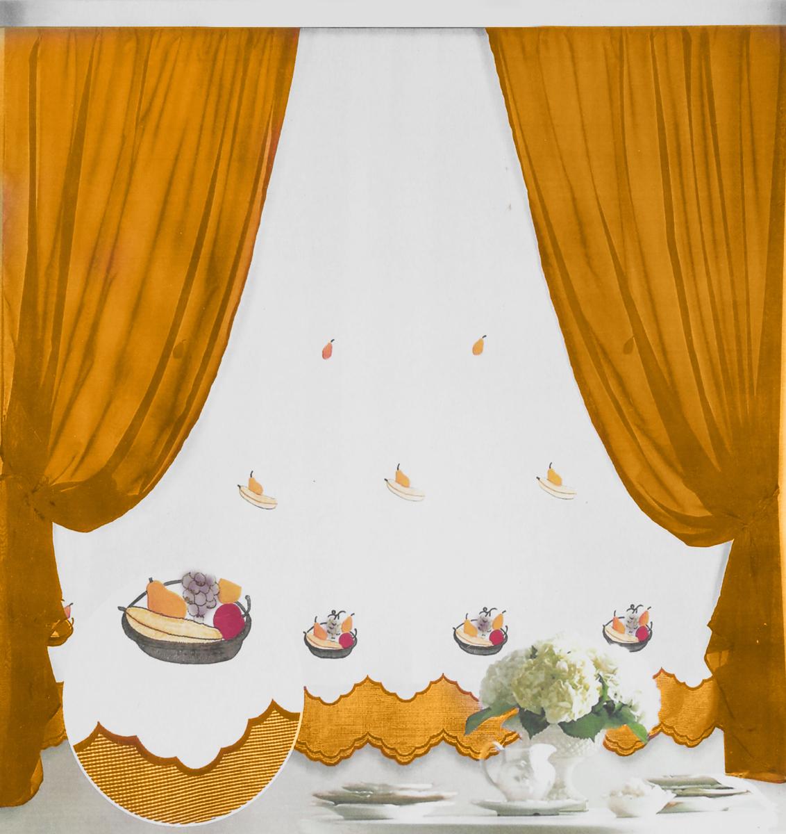 Штора Фруктовая корзинка, на ленте, цвет: белый, горчичный, высота 170 см80180_белый, горчичныйШтора Фруктовая корзинка - это универсальная и интересная серия домашних штор для яркого и стильного оформления окон и созданияособенной уютной атмосферы. Эта штора великолепно смотрится как одна, так и в паре, в комбинации с нежной тюлевой занавеской, собраннаяна подхваты и свободно ниспадающая естественными складками. Такая штора, изготовленная полностью из прочного и очень практичногополиэстерового полотна, долговечна и не боится стирок, не сминается, не теряет своего блеска и яркости красок.Высота: 170 см