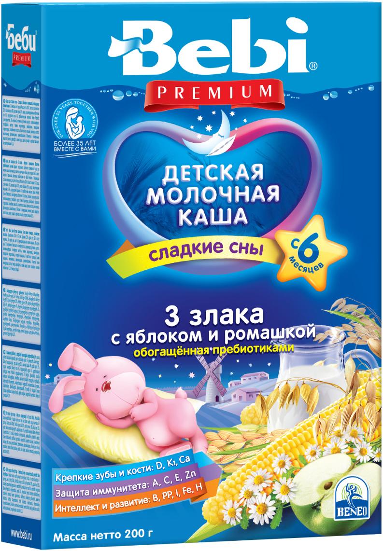Bebi Премиум каша 3 злака с яблоком и ромашкой с пребиотиками молочная, с 6 месяцев, 200 г каши bebi молочная каша premium для сладких снов 3 злака с малиной и мелиссой с 6 мес 200 г