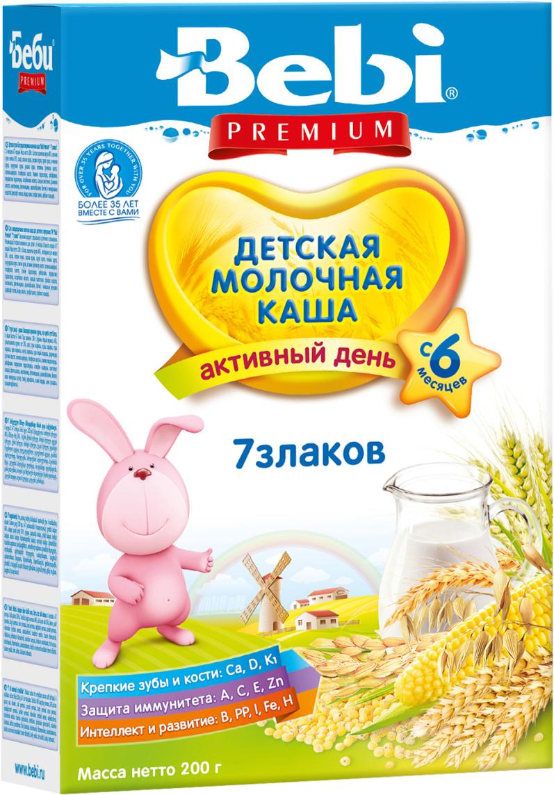 Bebi Премиум каша 7 злаков молочная, с 6 месяцев, 200 г каша молочная bebi premium 7 злаков с черникой 6 мес 200 г