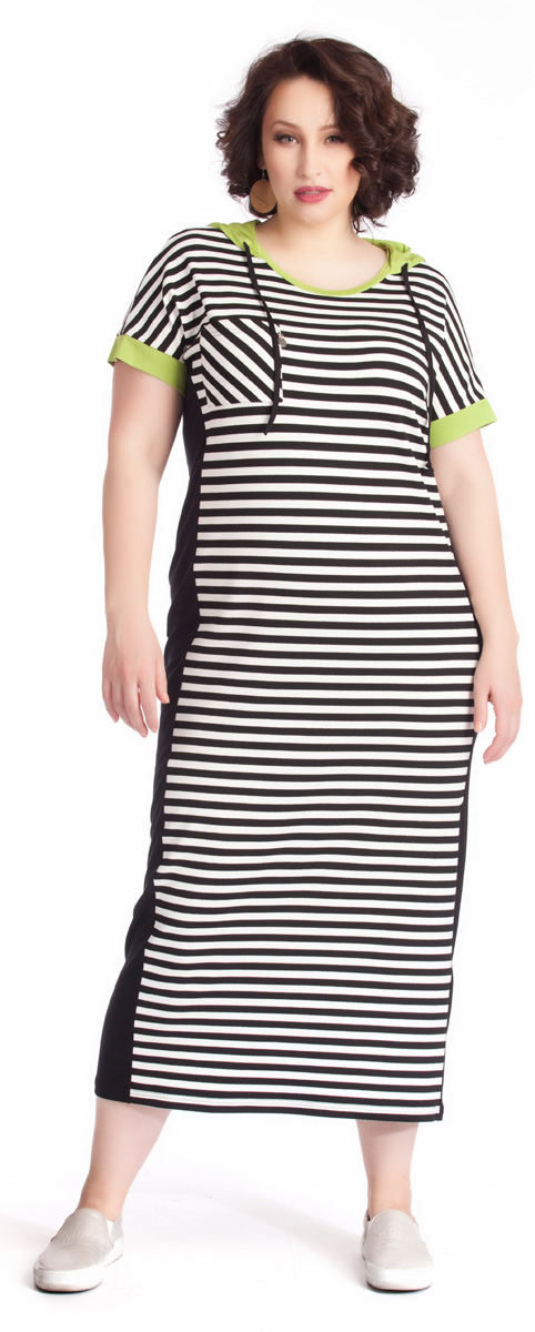 Платье Averi, цвет: белый, черный, светло-зеленый. 1260. Размер 54 (58)1260Эффектное длинное платье Averi актуального спортивного стиля из высококачественного трикотажного полотна с графичным полосатым принтом создаст незабываемый образ. Динамичное, яркое, в меру дерзкое, оно отличается минималистичным кроем. Яркие детали - окантовка округлой горловины, капюшон и манжеты рукавов - выполнены из трикотажа цвета зеленого яблока. Узкие черные бочки визуально стройнят силуэт. Модель на груди дополнена накладным карманом с иным рисунком полос.