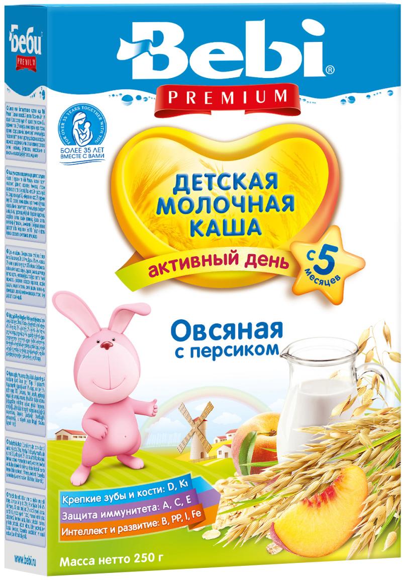 Bebi Премиум каша овсяная с персиком молочная, с 5 месяцев, 250 г