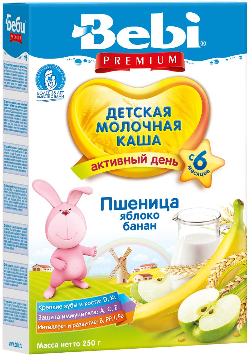 Bebi Премиум каша пшеница, яблоко, банан, молочная, с 6 месяцев, 250 г bebi каша премиум 3 злака с яблоком и ромашкой для сладких снов с 6 мес