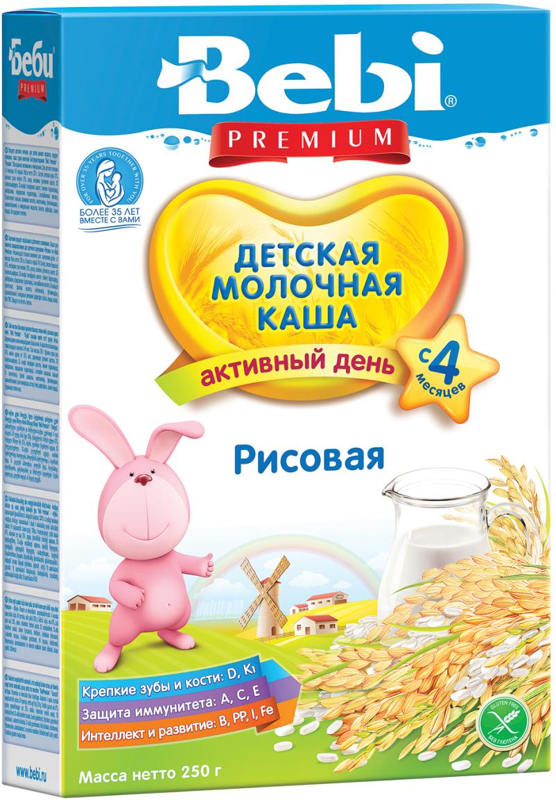 Bebi Премиум каша рисовая молочная, с 4 месяцев, 250 г4101010104Детская молочная рисовая каша является источником углеводов, клетчатки, полезных микроэлементов. Может использоваться для начала прикорма. Молочная рисовая каша Bebi Premium обогащена 12 витаминами и полезными микроэлементами, в том числе железом и йодом. Продукт может использоваться у детей с 4 месяцев. Рисовая молочная каша Беби Премиум содержит специально приготовленное молоко. Для получения 1 порции к 30 г хлопьев (3–4 столовые ложки) требуется добавить 150 мл кипяченой и охлажденной до 50–60 С воды и перемешать. Продукт следует дать ребенку сразу после приготовления. Тщательно закрывайте упаковку после каждого использования, храните ее в прохладном темном месте.