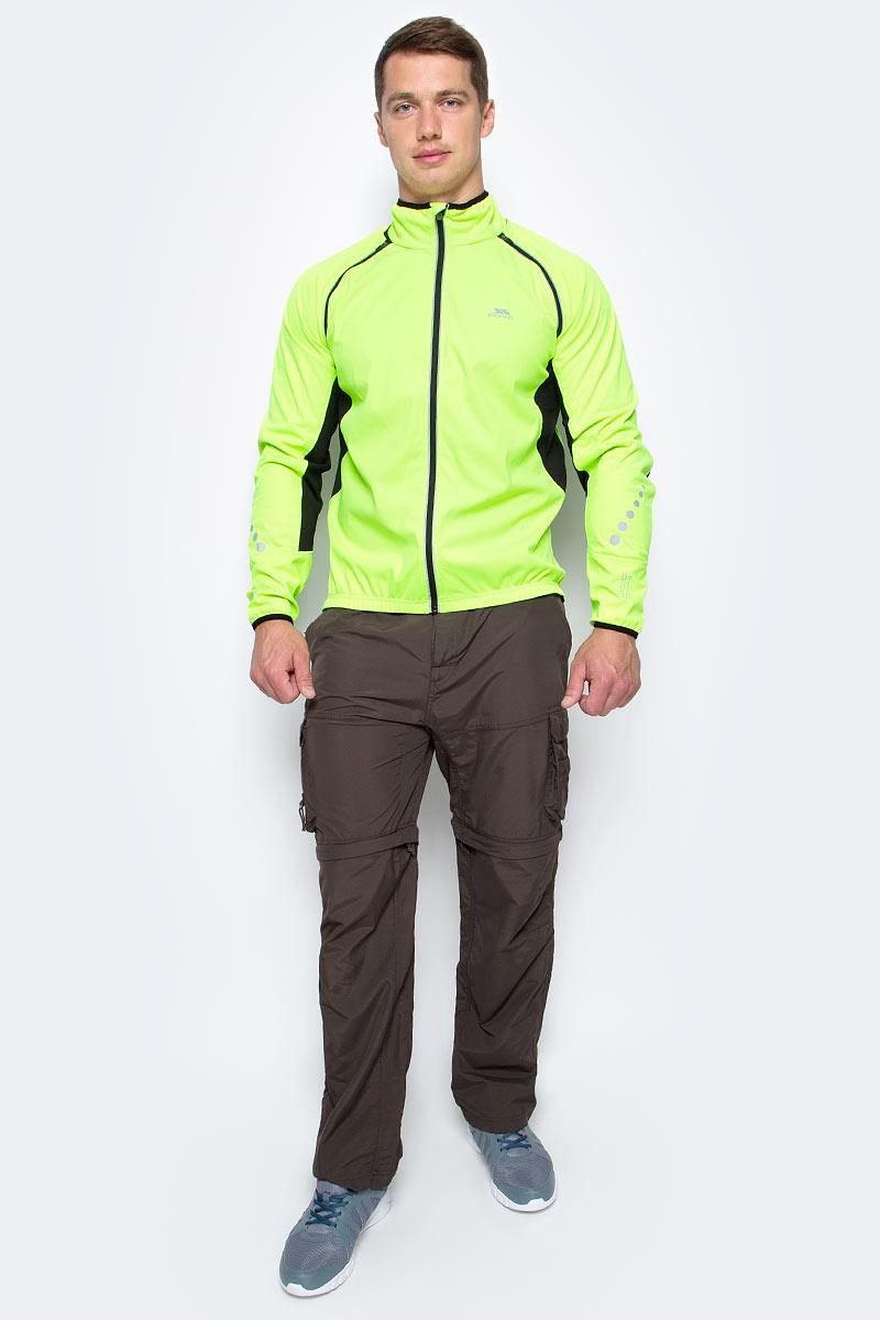 Ветровка для велоспорта мужская Trespass Aaron, цвет: салатовый, черный. MAJKSSL20005. Размер XL (54)