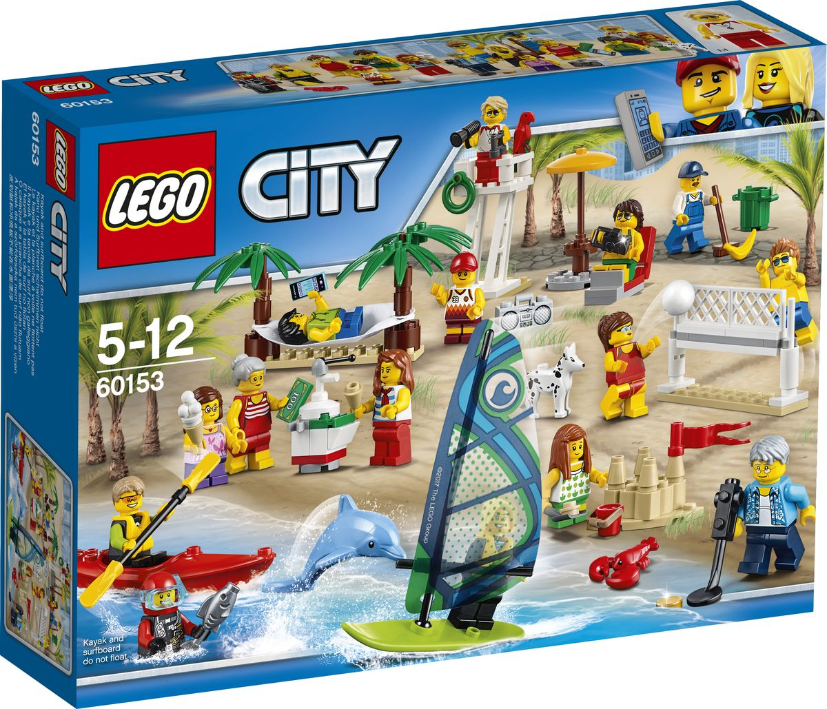 LEGO City Town Конструктор Отдых на пляже Жители LEGO City 60153 lego city town конструктор отдых на пляже жители lego city 60153