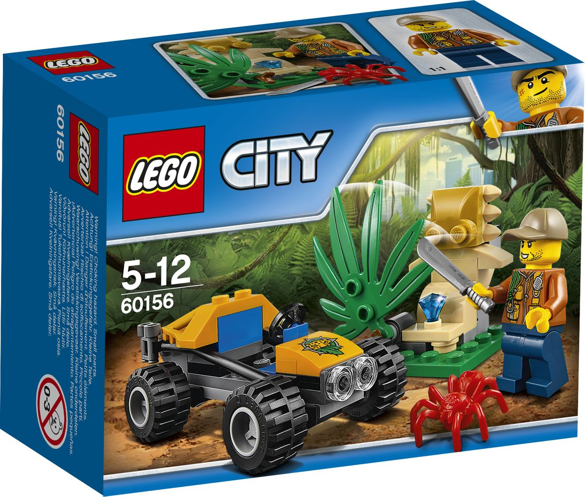 LEGO City Jungle Explorer Конструктор Багги для поездок по джунглям 60156 конструктор lego city jungle explorer исследование джунглей 60159