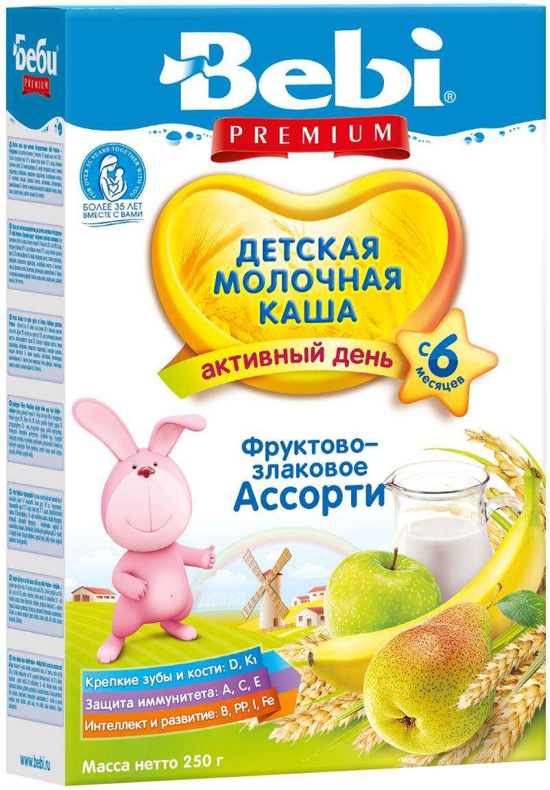 Bebi Премиум каша фруктово-злаковое ассорти молочная, с 6 месяцев, 250 г4101010031Сбалансированный микс злаков обеспечит малышу длительное насыщение. В состав продукта входит рис, богатый аминокислотами и калием, а также пшеница — источник легкоусвояемых углеводов. Фруктовые добавки из груши, банана и яблока являются поставщиками важных микроэлементов, а также пищевых волокон, улучшающих работу кишечника. Молочная каша фруктово-злаковое ассорти может быть включена в детское питание с 6 месяцев. Добавьте к 150 мл кипяченой и охлажденной до 50-60 °С воды 35 г (4-5 столовых ложек) хлопьев и перемешайте. Готовьте свежую кашу перед каждым кормлением. Тщательно закрывайте пакет на липкую ленту, храните его в сухом темном месте.
