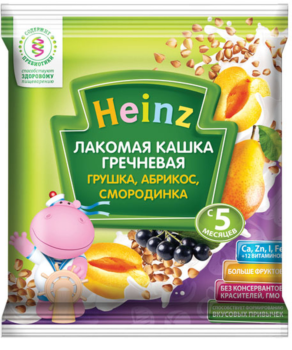 Heinz Лакомка каша гречневая грушка, абрикос, смородинка сашет, с 5 месяцев, 30 г heinz кашка любопышки слива абрикос черника с 12 мес