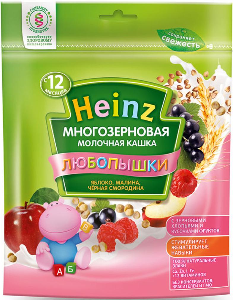 """Фото Heinz """"Любопышки"""" каша многозерновая молочная яблоко, малина, черная смородина, с 12 месяцев, 200 г"""