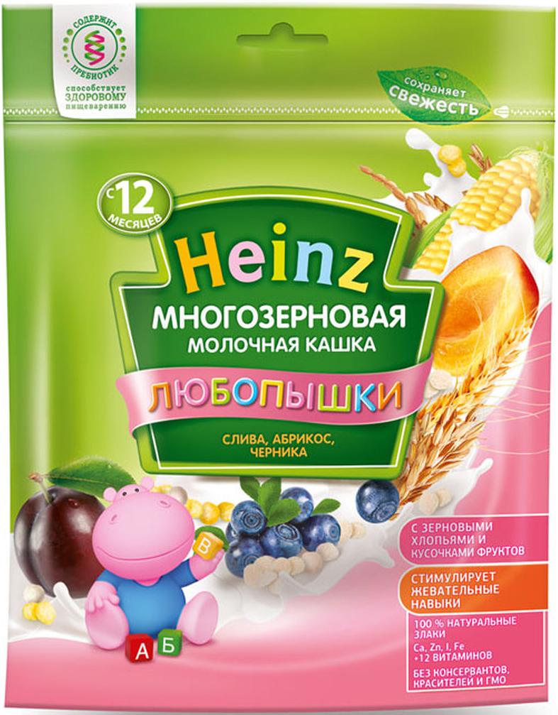 """Фото Heinz """"Любопышки"""" каша многозерновая молочная, слива, абрикос, черника, с 12 месяцев, 200 г"""