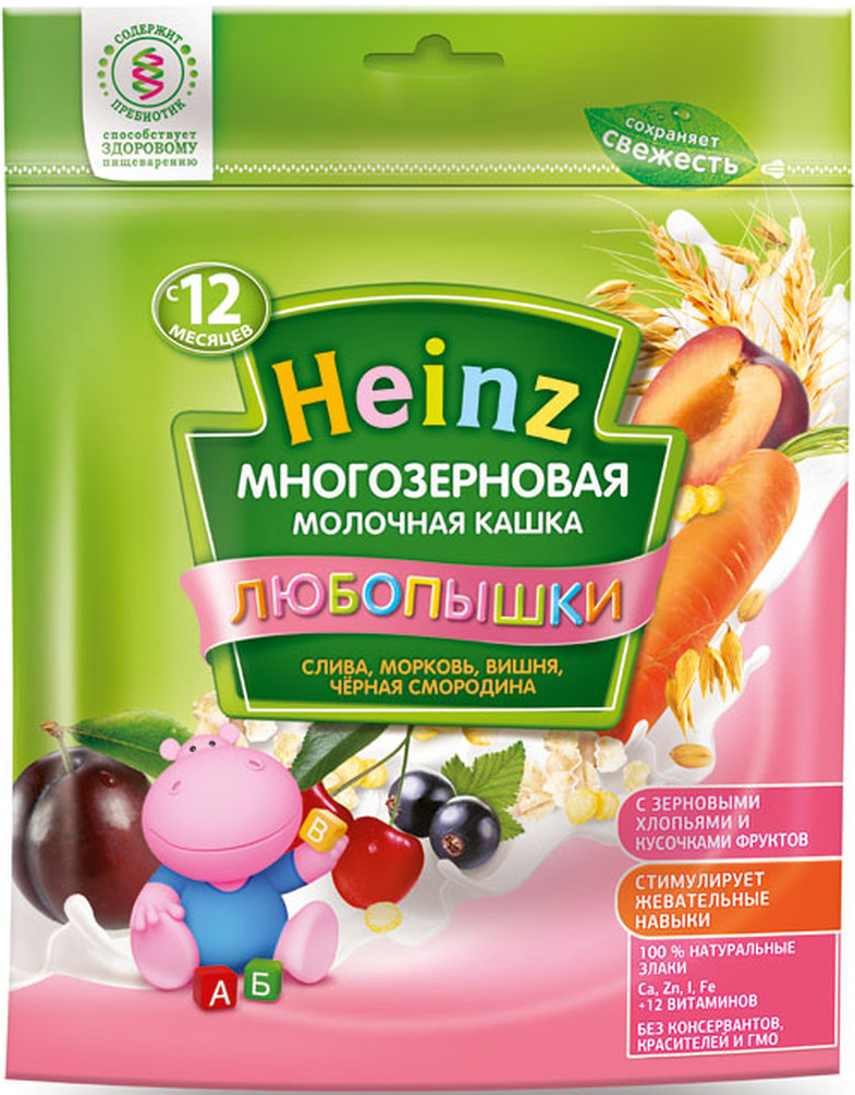 """Фото Heinz """"Любопышки"""" каша многозерновая молочная, слива, морковь, вишня, черная смородина, с 12 месяцев, 200 г"""
