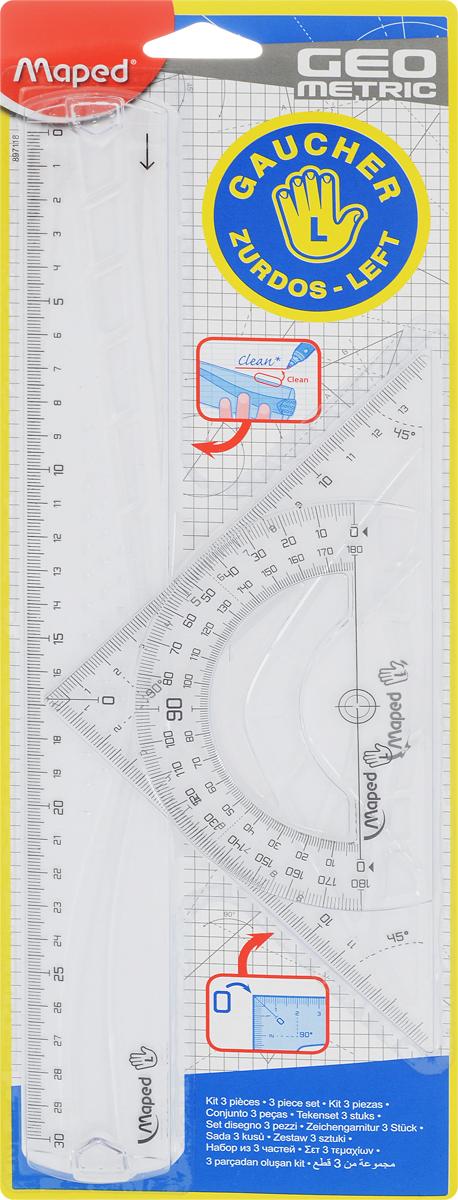 Набор геометрический Maped Геометрик, для левшей, 3 предмета897118Геометрический набор Maped Геометрик для левшей, выполненный из прозрачного пластика сиреневого цвета содержит все, что может понадобиться ученику на уроках математики.Набор состоит из трех предметов: линейки на 30 сантиметров, транспортира на 180° и угольника. Угольник имеет углы 45, 45, 90 градусов и линейку на 14,5 сантиметров.Каждый чертежный инструмент имеет свои функциональные особенности, ориентированные специально на левшей. Характеристики:Материал: пластик. Размер упаковки: 13 см х 36 см х 0,6 см. Изготовитель: Китай.Уважаемые клиенты! Обращаем ваше внимание на то, что упаковка может иметь несколько видов дизайна. Поставка осуществляется в зависимости от наличия на складе.