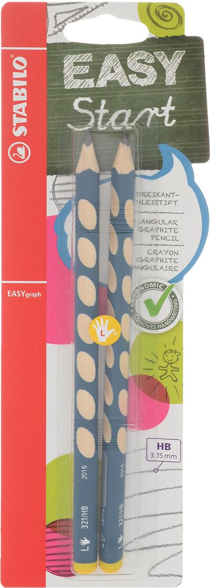 Набор карандашей чернографитных Stabilo Easygraph для левшей, 2 штВ-39888-10Специальные углубления на корпусе карандаша подсказывают ребенку как располагать большой и указательный пальцы, прививая первоначальный навык правильно держать пишущий инструмент;Расположение углубление по всей длине корпуса обеспечивает правильное удержание карандаша ребенком при письме и рисовании даже после заточки карандаша. С течением времени навык автоматически закрепляется в памяти ребенка, позволяя ему быстрее и легче адаптироваться к процессу обучения письму, освоить правильную технику письма и сделать письмо красивым и быстрым. Создают максимальный комфорт для ребенка - трехгранная форма карандаша соответствует естественному захвату руки, уменьшая мышечные усилия, необходимые для его удержания, - ребенок может рисовать длительное время без ощущения усталости; Утолщенная форма корпуса облегчает удержание карандашей детьми с недостаточно развитой мелкой моторикой руки; Карандаши разработаны с учетом особенностей строения руки ребенка и имеют две версии: для правшей и для левшей, обеспечивая им одинаково комфортное письмо;Рекомендуются в начале обучения рисованию и письму Диаметр грифеля 3,15 ммТвердость - HBХарактеристики: Твердость: НВ. Длина карандаша: 17,5 см. Размер упаковки: 24 см х 8,5 см 1,5 см.