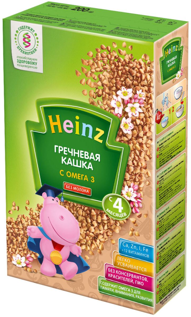 Heinz каша гречневая с омега 3, с 4 месяцев, 200 г каши heinz безмолочная пшенично овсяная каша с фруктиками с 6 мес 200 г
