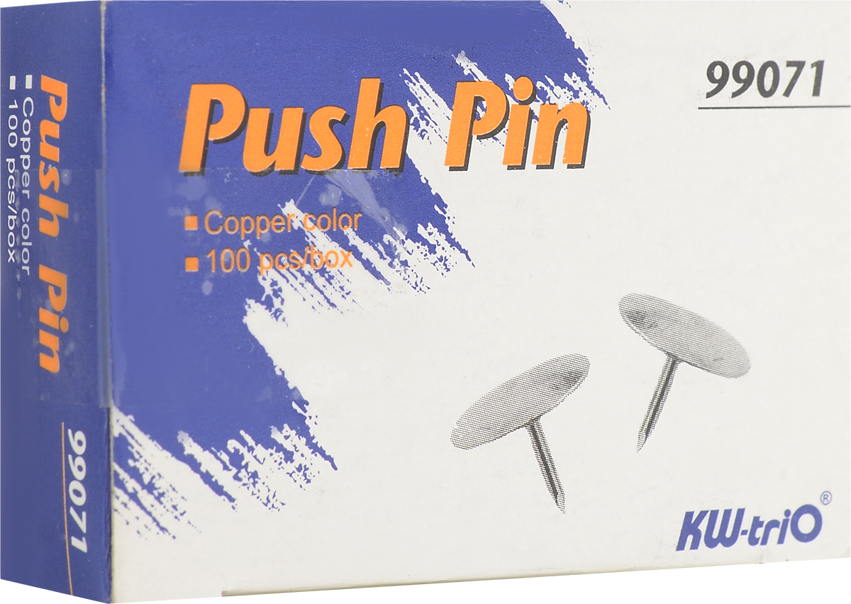 KW-Тrio Кнопки канцелярские цвет золотистый 100 шт99071Круглые металлические кнопки KW-Тrio применяются для крепления информации к пробковым доскам и другим поверхностям.В упаковке 100 штук.
